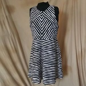 Xhiliration tan and black stripe dress